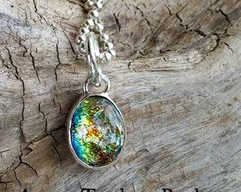 Aurora Teardrop Memorial Necklace, Ashes in Glass, Cremation Jewelry, Pet Memorial