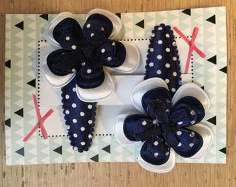 Hair pins with flower dark blue and white dots