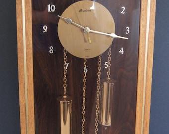 Mid Century 1960's Brentwood Quartz Pendulum Wall Clock