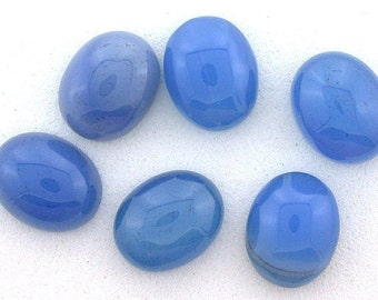 Six 9x7 9mm x 7mmoval blue agate cabochon gem stone gemstone bac4