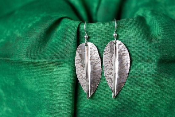Antiqued Sterling Silver Leaf Earrings