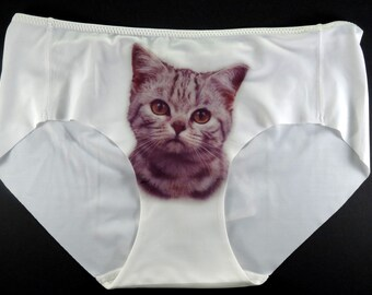 ca4c6667e9f7 Soft Panties, Panties, Cat Face Panties, Cat Underwear, Cat Lingerie, Gift  for Woman, Wedding Lingerie, Printed Underwear, Cute Cat Panties