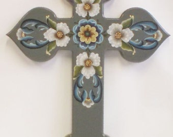 rosemaling cross, hand painted in oil, medium green background, fluffy white flowers, blue scrolls