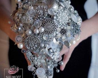 Brooch Bouquet, Silver Crystal Bouquet, Bridal Bouquet, Diamond Bouquet, Uniquet Wedding Bouquet, Bling Jewelry Bouquet