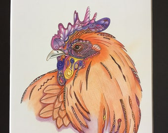 Colored rooster zentangle rooster hand drawn original art chicken art colored chicken rooster wall art  chicken wall decor