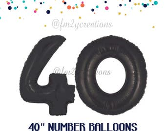 40th Number BLACK Balloons | 40th Birthday Decorations | 40 Balloon Numbers | 40th Birthday GOLD Balloons | 40th Birthday Party Balloons
