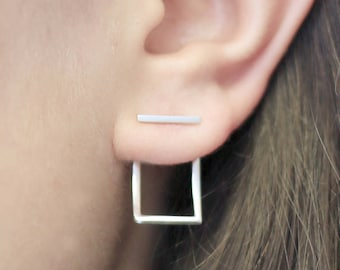 Square Ear Jacket, Silver Earrings, Sterling Silver, Ear Jackets, Square Wire Earrings, Bar Studs, Earrings, Studs, Minimal Jewelry, Silver