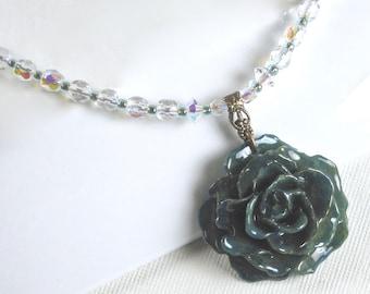 Echte blaue Rose Halskette - Kristall Halskette, Blumenschmuck, natürliche erhalten, Naturschmuck, Hochzeitsschmuck, Kristall Halskette