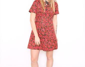 Vintage 90s Red Floral Print Mini Shift Dress. Medium. UK 12.