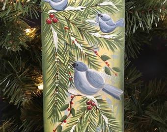 Bird, Greenery, Glitter, Evergreen, Bluebird Hanging Sign, Bluebird, Christmas, Holiday Decor, Laurie Speltz, free shipping