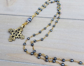 Ethiopian Cross Long Gray Hematite Rosary Chain Necklace