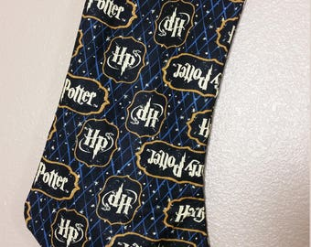 Stocking Made with Harry Potter Fabric Navy, Nerdy Stocking, Gift for Nerds, Harry Potter Fabric, Geeky Stocking, Harry Potter Gift,