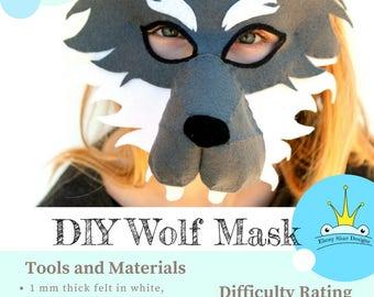 Wolf Mask PATTERN.  DIY Kids Wolf Costume . Animal Mask Sewing Pattern. Wolf Party Mask.