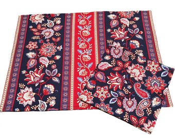 Patriotic Placemats and Napkins, Red, White and Blue Floral Placemats, Patriotic Decorations