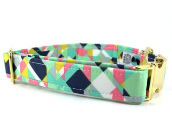 Dog Collar | Mint Geometric Dog Collar with Gold Colored Metal Side Release Buckle | Unique Dog Collar | Girl Dog Collar | Boy Dog Collar