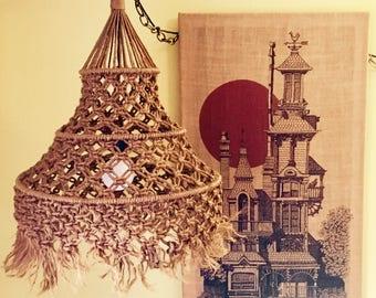 Macrame Hanging Lamp. Bohemian Decor. Vintage Swag Lamp. Jute. Vintage Boho Jungalow Lamp. FREE US SHIPPING.