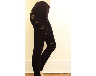 3D Platonic Solids Organic & Ethically Sourced Leggings | Hand Drawn Sacred Geometry | Geometric | Hand Printed | Festival Wear | Yoga |