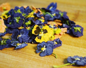 Dried Pansy Flowers - Certified Organic, Pansy, Viola, Edible Flowers, Culinary, Dried Flower, Specialty, Colorful, Supplies, Decoration