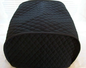 Black 4 Slice Toaster Cover Quilted Fabric Kitchen Small Appliance Cover Ready to Ship