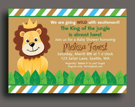 King Of The Jungle Lion Invitation Printable Or Printed With