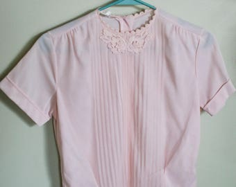 Pretty Pink Blouse with Buttons down back