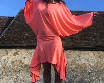 """I will be true"" coral Jersey tunic"