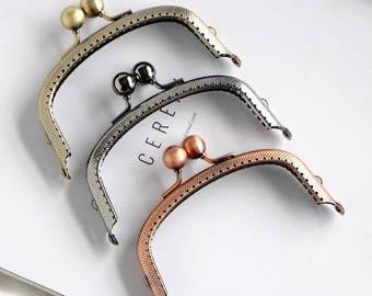 1 x bag clasp purse for clutch pouche 10.5 cm metal circle