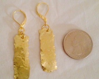Funky Hammered Brass Earrings