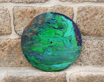 """Painting acrylic on vinyl, multicolor, diameter 30cm / Handmade Vinyl Acrylic Painting """"dirty for"""" with cells"""
