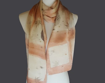 Leaf Printed Silk Charmeuse Scarf, Ecoprint Scarf, Natural Dye, Cream and Salmon