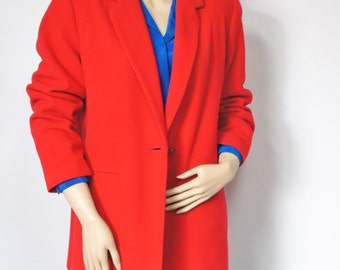 Vintage Jacket Red Blazer Vintage Women's Jacket Single Breasted Wool Blazer Jacket Size 10 1990's
