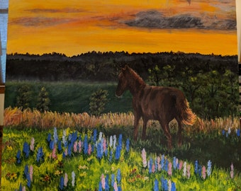 Horse and Lupines