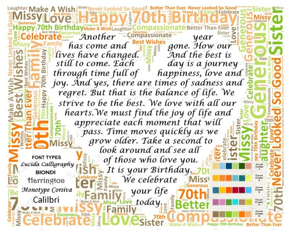 Poem for 70th birthday
