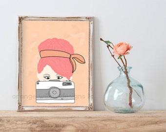 Pink hair don't care :) photographer Camera Picture taking art Print (5AOWDe72) 11x14 Art Retro Art Print Camera Photographer Girl Pink Hair