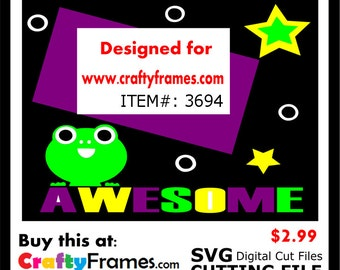 ITEM # CF-3694 - Awesome Green Frog Purple Black - SVG Cutting Machine File - Instant Download - Commercial Use - 2.99