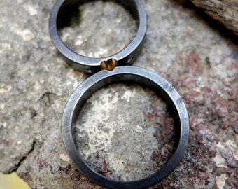 Wedding Bands set His and hers Wedding Bands Unique Wedding Bands Oxidized Silver Bands Mixed Metals Wedding Rings set Wedding Bands