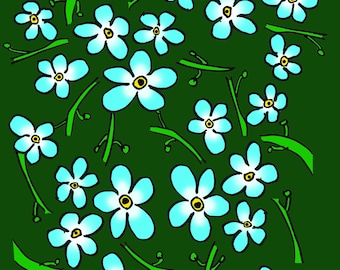 Forget me not greeting card, any occasion, blank card