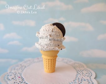 Fake Ice Cream Double Scoop Cookies n Cream Chocolate on Cake Cone with Cookie Food Photo Prop Gift Decor