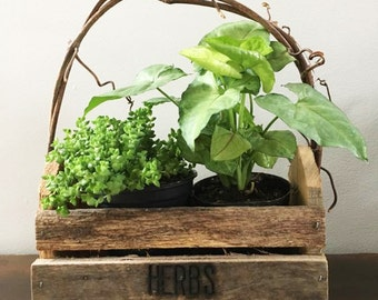 Herbs Wooden Planter Box / Rustic Windowsill Planter / Herbs Tote Box / Barn Wood and Twig Tote / Planter Box