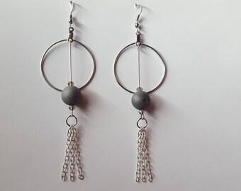 Silver Hoop/Grey beaded fringe dangle drop earrings