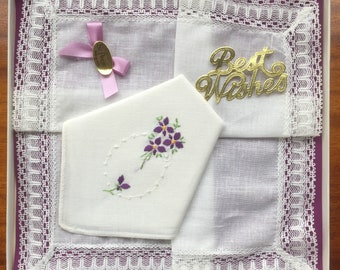 "Box of 2 New Vintage ""Best Wishes"" St Patrick Irish Cotton Handkerchiefs Embroidered with Violets (Happy to Personalise)"