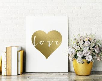 Gold Foil Print, Love Print, Heart Print, Gold Foil, Chic Decor, Decor,  Home Decor, Inspiration Print, Apartment Decor, Valentine's Gift