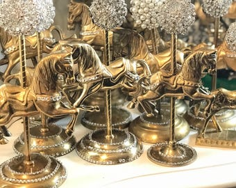 Rental Vintage brass carousel horses wedding special occasion decoration centerpiece