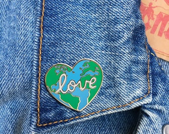 Earth Love Pin, Hard Enamel Pin, Jewelry, Quote, Stocking Stuffer, Gift (PIN145)
