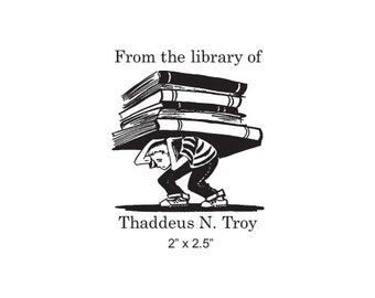 Personalized Student With Books Heavy Reading Ex Libris Rubber Stamp K10