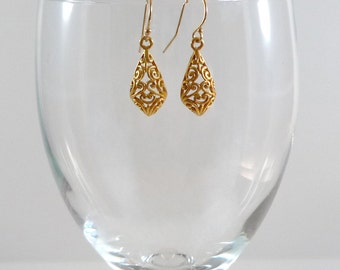 Gold Vermeil Earrings Gold Vermeil Drop Earrings Gold Vermeil Dangle Earrings Bali Earrings Vermeil Earrings Gold Sterling Earrings
