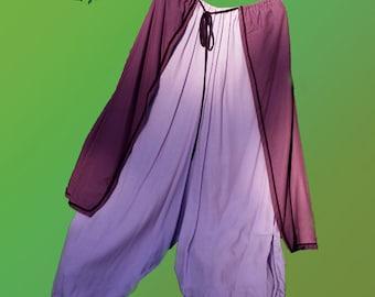Baggy pixie pants - purple & lilac mauve pagan trousers - alternative bohemian hippie psychdelic fantasy festival harem pants psytrance goa