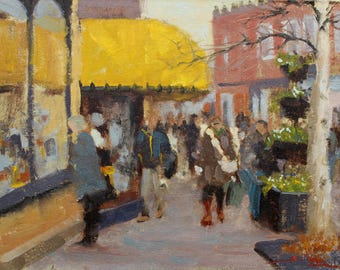 """Yellow awning in Sidmouth. Small original oil painting. 9""""x12"""""""