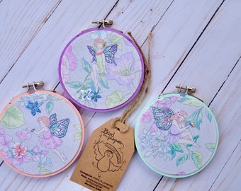 Fairy Hoop Art, Embroidered  Hoop Art, Embroidery Embellishments, Girl's Room, Girl's Nursery Decor
