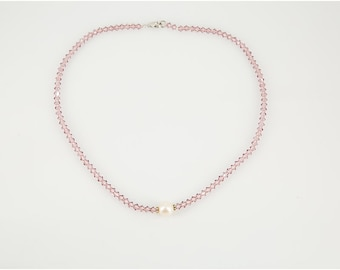 Lilac Beaded Necklace made with Swarovski Crystals